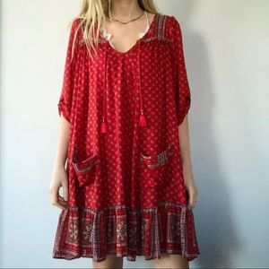 Free People oversized red print tunic with pockets